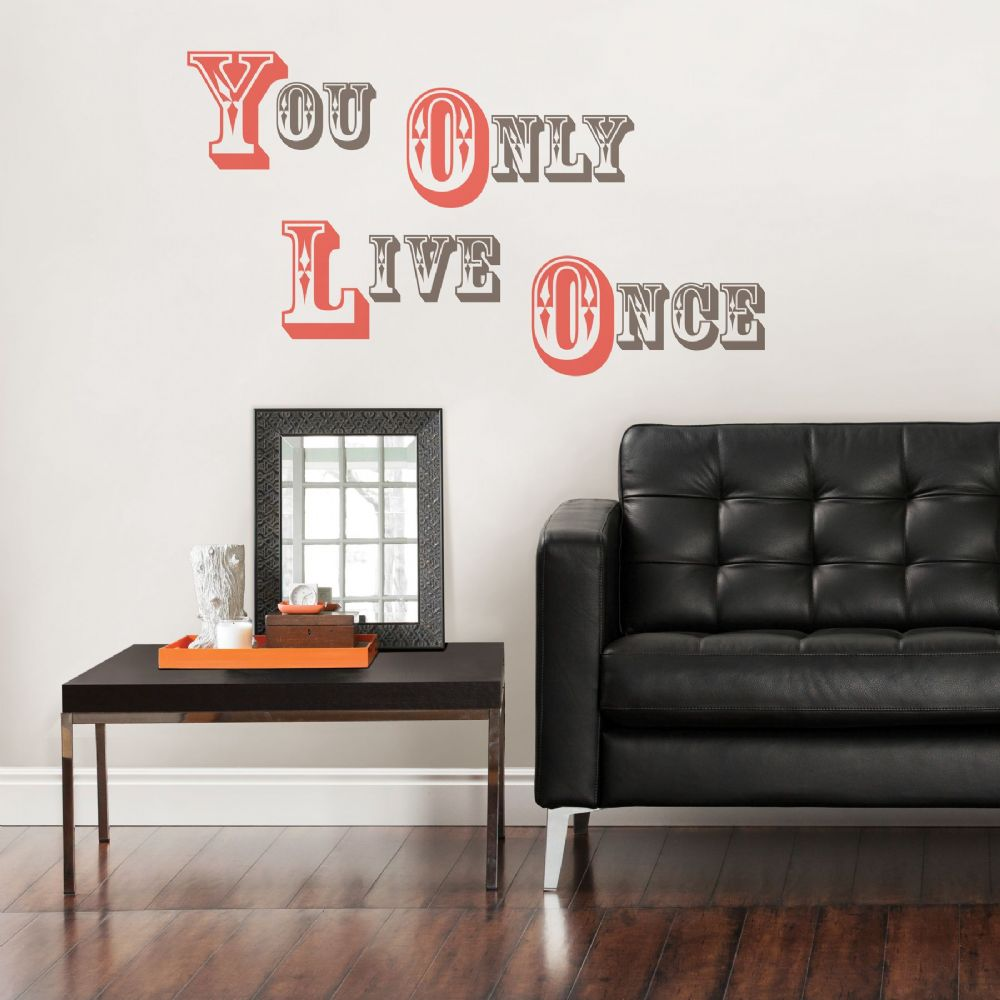 YOLO You Only Live Once Wall Quote Wall Sticker Set